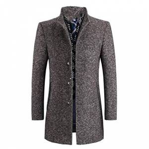 Men's Winter Wool Thicked Trench Coat Grey Casual Wool 60% Jackets Brown XXL