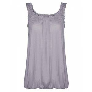 Women Vest Top Loose Fit Elasticated Waist Sleeveless Casual Summer Tank T-Shirt Blouse (12-14, Grey)