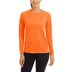 FASKUNOIE Summer Tops for Women UPF 50+ UV Protection Gym Going Out Plain Crew Neck Lounge Basic Tee Shirts Hiking Tennis Blouses Tops Orange 2XL