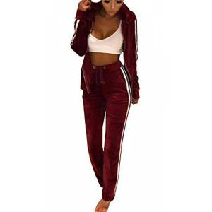 Womens 2 PCS Tracksuits, Casual Womens Pyjama Zip up Hoodie and Sweat Pant Trouser Twinset - Long Sleeve Solid Velour Sports Gym Yoga Workout Coat Set (Wine Red, S)
