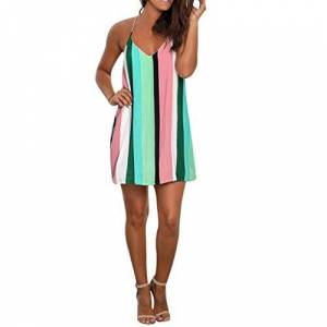 Gofodn Dresses for Women Clothes, Ladies Summer Casual V Neck Striped Holiday Beach Mini Sling Dress