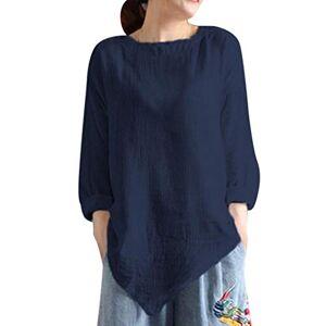 Women Summer Vintage Cotton Linen Long Sleeve Shirt Casual Loose Blouse Tee Top Navy