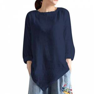 Women Summer Vintage Cotton Linen Long Sleeve Shirt Casual Loose Blouse Tee Top Navy