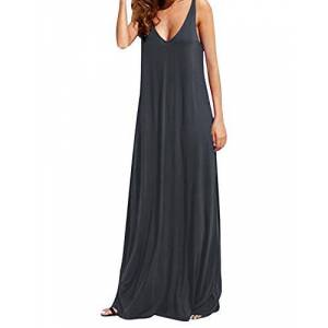 KIDSFORM Women's Summer Dress Sexy Sleeveless Deep V Backless Maxi Sundress Casual Beach Long Dresses A-Dark Grey Size 2XL/ UK 18