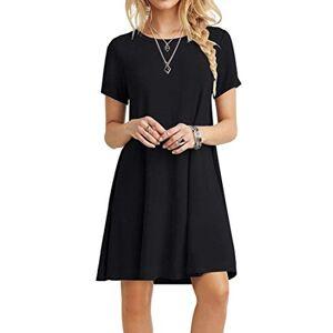 POPYOUNG Women's Short Sleeve T Shirt Dresses Summer Casual Swing Dress XS-Black