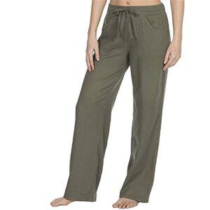 Style It Up Womens Ladies Linen Trousers Pants Summer Casual Holiday Beach Chino Khaki Cargo (Khaki, UK 22)