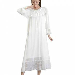 YOUMU Women Girl Lolita Sleepwear Ruffle Lace Nightdress Nightgown Victorian Vintage (White, EU L/Suggest Weight: 65-70kg)