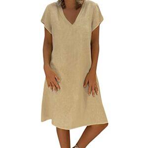Women Summer Linen Dresses, Casual Tunic Tops Ladies Dress Casual Short Sleeve T-Shirt Loose Fit Beach Dress Cotton Plus Size Ladies Dress Pullover Feminino Vestido Tops Dress(Khaki,XXXXL)