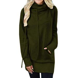 KIDSFORM Womens Casual Sweatshirt Long Sleeve Pockets Pullover Jumper Tops Cowl Neck Hoodies Drawstrings Army Green Size M/UK 10-12