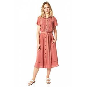 Roman Originals Women Denim Ladder Trim Shirt Midi Dress - Ladies Spring Summer Short Cap Sleeve Round Neck Knee Length Smart Casual Holiday Day Dresses - Pink - Size 18