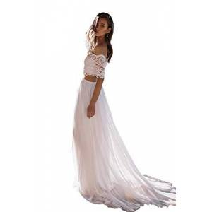 Nanger Women's wedding dresses two-piece chiffon lace wedding dresses registry office boho long - White - 18
