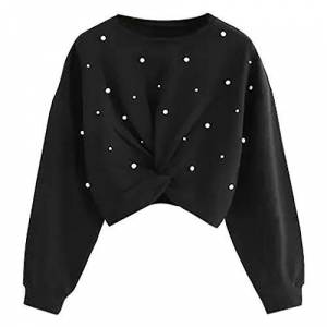 LOPILY Ladies Front Twist Sweatshirt Pearl Embellishment Crew Neck Long Sleeve Pullover Tops Women's Solid Color Jumpers Top Blouse(Black,6 UK/M CN)