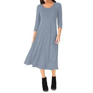 UR Angel Women Casual 3/4 Sleeve A-line Flare Midi Long Plain Simple Dress Grey 18