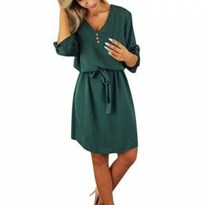Summer Mini Dresses for Women Roll up/Long Sleeve V Neck Button Down Loose Swing Tie Waist T-Shirt Dress Casual Beach Party Daily Wear (XL, Green)