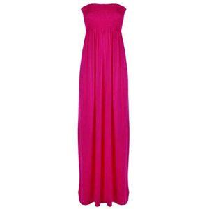 Eshoppingwarehouse Ladies Bandeau Shirred Boob Tube Maxi Womens Long Strapless Elasticated Dress Cerise UK 18-20