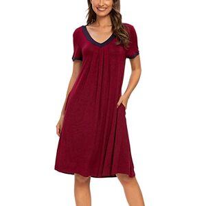 Women Solid Nightdress V Neck Short Sleeve Soft Lounge Wear Comfy Nighties T-Shirt Dress