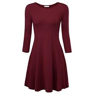 BAISHENGGT Women's Plain 3/4 Sleeve A Line Round Neck Flared Swing Casual Dress Purplish Red X-Large