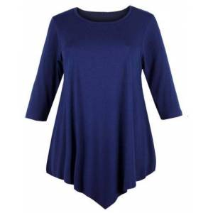 Papaval Womens V-Cut Tunic TOP Swing Dress Ladies Baggy Three Quarter Sleeves Round Neck Navy Blue