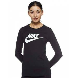 Nike Women's W NSW TEE ESSNTL LS ICON FTRA Long Sleeved T-Shirt, Black/(White), M