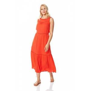 Roman Originals Women Ladder Trim Maxi Dress - Ladies Cotton Summer Holiday Casual Everyday Beach Sleeveless Round Neck Floor Length Maxi Dress - Orange - Size 14