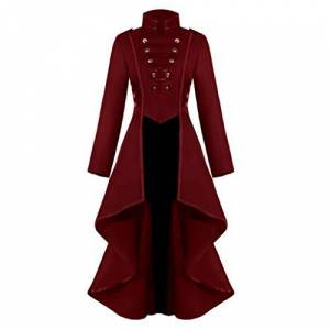 Younthone Medieval Retro Women Gothic Steampunk Button Lace Corset Halloween Costume Coat Tailcoat Jacket Long Jacket Party Cosplay Stage Costume S-XXXL(Red,XXXL)