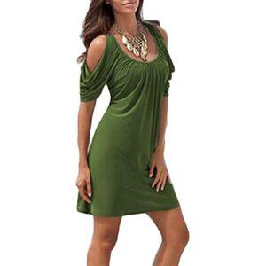 EFexous Women Summer Ruffle Short Sleeve Pleated Beach Dresses Green