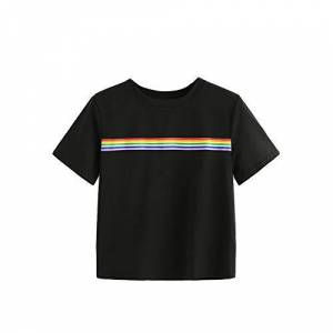 Beonzale Women's Summer Rainbow Stripe Stripe Top School Girls Teen T-Shirt Loose Crop Top
