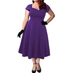 ABYOXI Women's Vintage A-line 50s Retro Rockabilly Dress Knee-Length Evening Dress Large Sizes - Purple - XL
