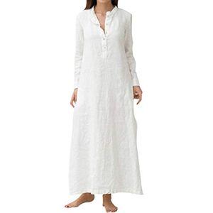 Xmiral Women's Kaftan Long Sleeve Plain Casual Maxi Dress,L,White