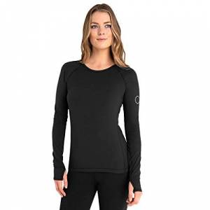 Calvin Klein Womens Vibe Longsleeved Scoop Neck T-Shirt - Black - L