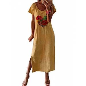 Womens Summer Loose Side Split Casual Short Sleeve Floral Print Long Dress 2 XS