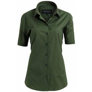 INFLATION Blouses Shirts Women, Short Sleeve Button Down Ladies Blouse Office Workwear Slim Shirt, Girls School Blouse, Army Green, Size 8