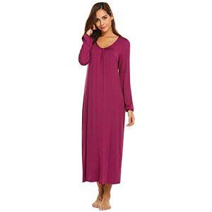 None ADELINA Kisshes Women's Long Shirt Long Dress Nightdress Loose Sleeve Night Fashionable Completi Dresses Round Neck Sleepshirt Chemise Maxi Dress Black Dark Blue Purple (Color : Violett, Size : L)