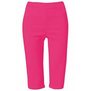 Roman Originals Women Knee Length Shorts - Ladies Cropped Capri Stretch Bengaline Pants Smart Crop Trousers Summer Legging Lounge Loungewear Elasticated Casual - Cerise - Size 22