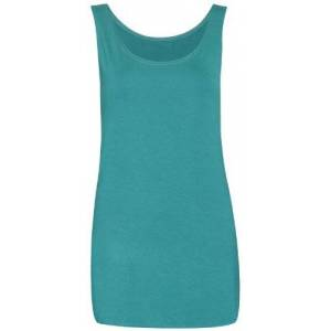 Purple Hanger Womens Scoop Neck Sleeveless Ladies Long Soft Stretch Plain Vest Casual Strappy T-Shirt Top Jade Green Size 18 - 20 (XXL)