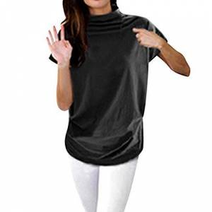 Xixi Women Casual Turtleneck Short Sleeve Cotton Girl Solid Casual Blouse Top Shirt Female Plus Size Solid Girl Clothing Fashion (Color : Arm Green, Size : M)