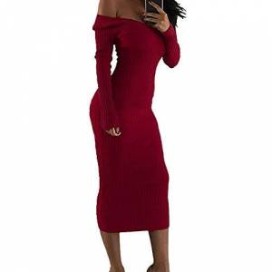 N\P Women's Off Shoulder Long Skirt Large V-Neck Long Sleeve Dress Red