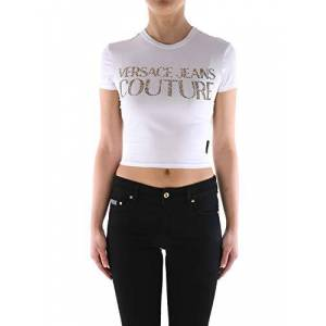 Versace T-Shirt Versace Jeans Couture in misto Cotone Donna VERSACE JEANS cod.B2HVA7T3 WHITE-GOLD SIZE:S