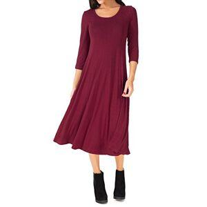 UR Angel Women Casual 3/4 Sleeve A-line Flare Midi Long Plain Simple Dress Red 16