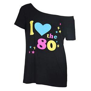 Smile Fish Womens 80s Fancy Dress Top I Love 80s Casual Oversized Ladies Retro Parties T Shirt Top (XXXXX-Large, Black7)