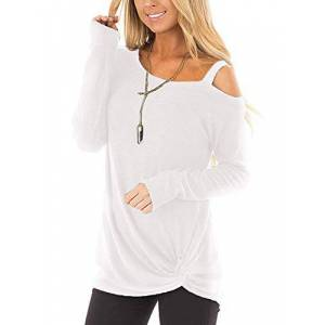 BeLuring Ladies Tops Holiday Going Out Loose Tee Shirts Blouse White Size 22 24