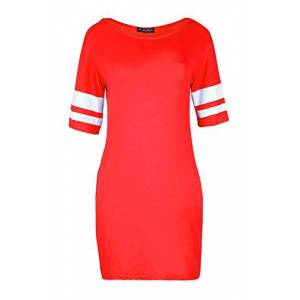 Fashion Star Womens Ladies Sports Stripes Printed Sleeves Pj Dress Baggy Oversized Jersey Top