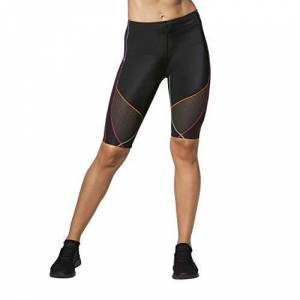 CW-X Men's Women's Stabilyx Ventilator Joint Support Compression Short, Black/Rainbow, Medium