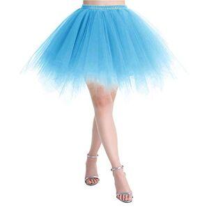 MuaDress LXQ Women's 1950s Multi Layer Retro Petticoat Tulle Tutu Party Dance Skirt Blue X-Large