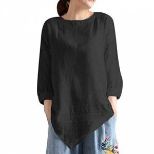Women Summer Vintage Cotton Linen Long Sleeve Shirt Casual Loose Blouse Tee Top Black