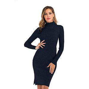 Enjoyoself Women Knitted Dress Knitwear Slim Long Sleeve Polo Neck Jumper Sweater Dress Navy