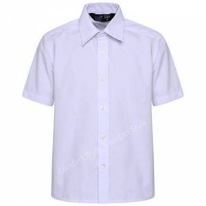 """Comfort-Style Short Sleeve Shirt for Women Blouse Girls School Dress Summer Uniform Ladies Sizes 22 to 46 Formal Wear (White, 40"""" Approx. (Age 16-18))"""