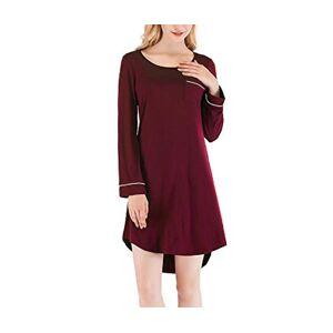 SHENGBOSS Women's Round Neck Long Sleeve Nightdress Modal Nightgown Loose Casual Pajamas (Wine red, L)