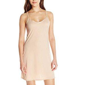 Sanahy Womens Dress Sale,Summer Casual Adjustable Spaghetti Straps Solid Sleeveless Slip Dress A-Line Dress(Beige,8)