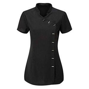 Eshoppingwarehouse Ladies Collar Neck Short Sleeve Beauty Salon Tunic Shirt Womens Hairdressing Top Black UK 18